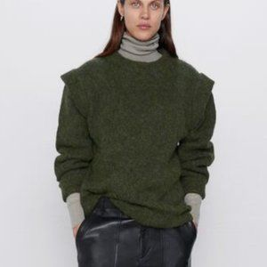 Zara Wool/Alpaca Blend Mock Neck Oversized Sweater Size Medium NWOT